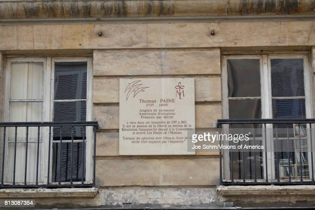 The Thomas Paine House 1809 Paris France placque reads 'Englishman by birth French Citizen by Decree American by Adoption' PARIS FRANCE