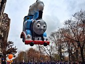 The Thomas The Tank Engine balloon in the Macy's Thanksgiving Parade