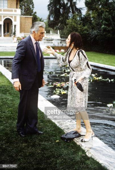 DYNASTY 'The Threat' Season Three 4/13/83 Blake criticized Alexis and Krystle after he pulled them out of the Carrington lily pond