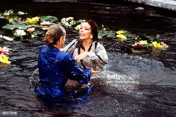 DYNASTY 'The Threat' Season Three 4/13/83 Krystle and Alexis's argument about Fallon resulted in a brawl in the Carrington lily pond