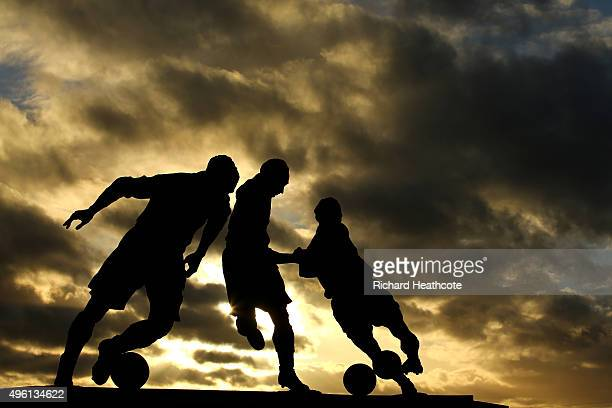 The three ages of Sir Stanley Matthews statue before the Barclays Premier League match between Stoke City and Chelsea at the Britannia Stadium on...
