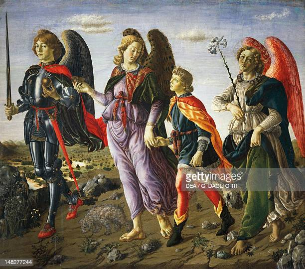 The three Archangels with Tobias ca 1470 by Francesco Botticini tempera on wood 135x154 cm Florence Galleria Degli Uffizi