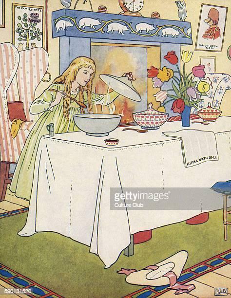 The Three Bears Goldenlocks / Goldilocks tasting their porridge from The Golden Goose Book illustrated by Leonard Leslie Brooke