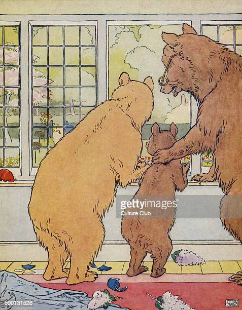 The Three Bears Goldilocks / Goldenlocks runs away out of the window from The Golden Goose Book illustrated by Leonard Leslie Brooke
