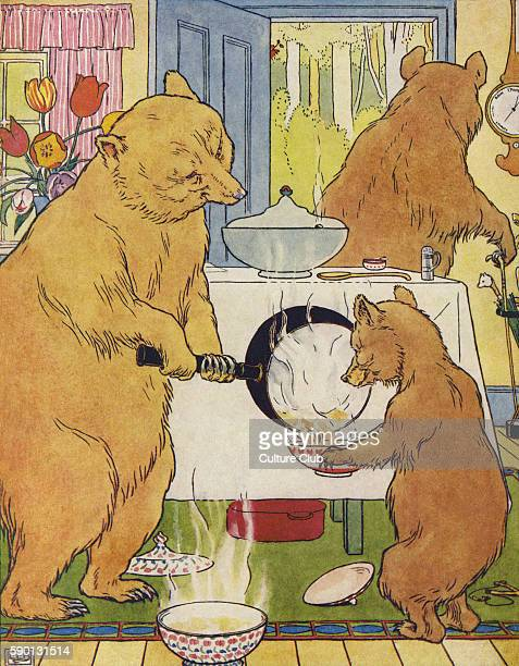 The Three Bears making their porridge from The Golden Goose Book illustrated by Leonard Leslie Brooke