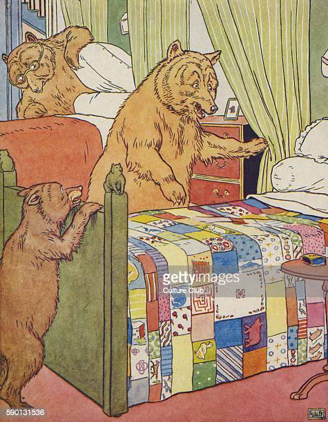 The Three Bears the bears find someone has been in their beds from The Golden Goose Book illustrated by Leonard Leslie Brooke