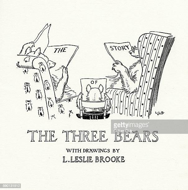 The Three Bears title page from The Golden Goose Book illustrated by Leonard Leslie Brooke
