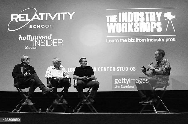 The three directors of the movie Airplane Jerry Zucker Jim Abrahams and David Zucker with host Jon Perkins at The Industry Workshops at the Los...