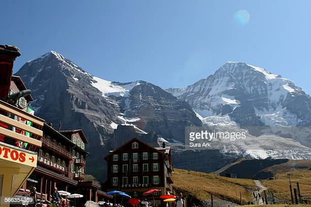 The three famous peaks at Jungfraujoch are from left to right Eiger Monch and Jungfrau as seen from Kleine Scheidegg Switzerland