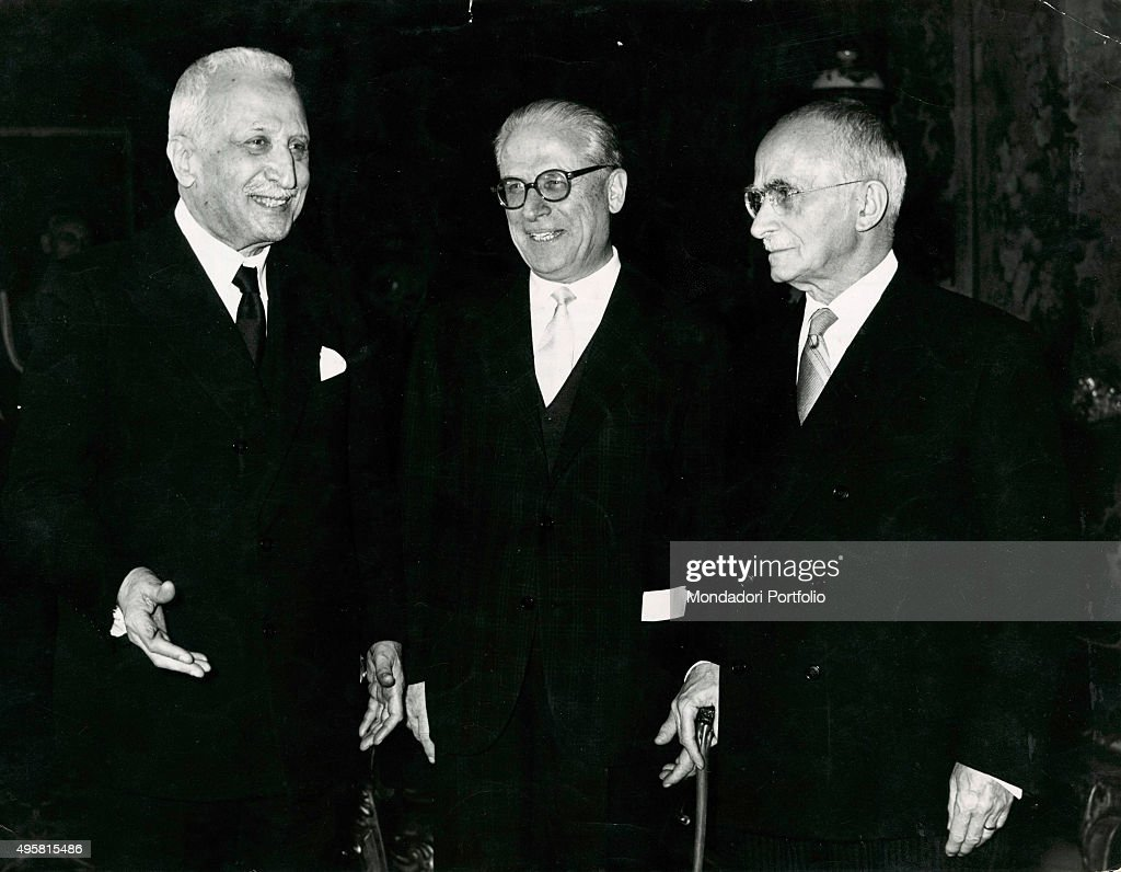 The three first Presidents of Italian Republic from the left Enrico De Nicola Giovanni Gronchi and Luigi Einaudi Italy 1950s