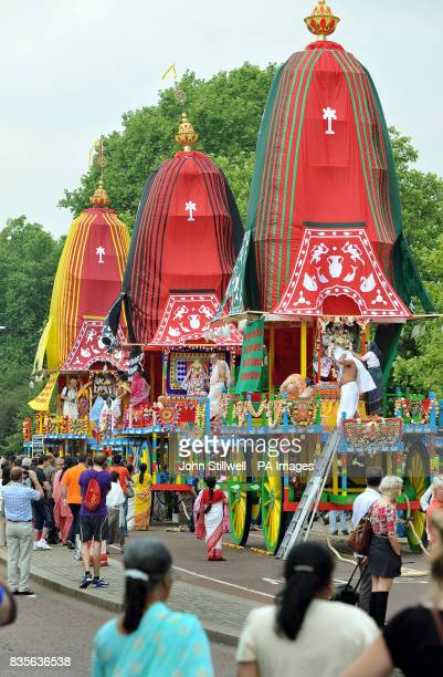 The three giant decorative wheeled shrines are hand pulled by hundreds of Hare Krishna devotees from Hyde Park to Trafalgar Square to celebrate the...