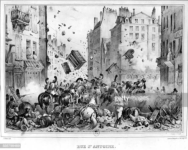 The Three Glorious ones Riders of Marmont charging a barricade Rue St Antoine July 1830