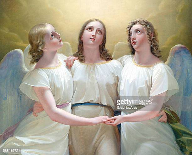 The Three Guardian Angels by Franz Kadlik oil on canvas 1822 From a private collection