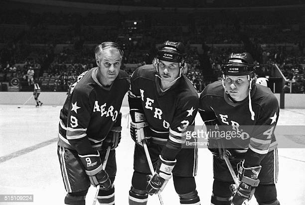The three Howes Father Gordie and sons Marty and Mark take to the ice for the first time in league play here as their team the Houston Aeros prepares...