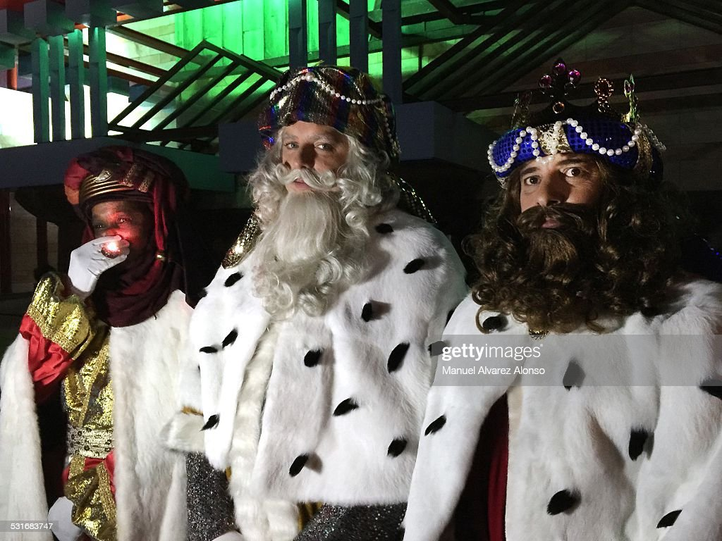 The three kings arriving in the Nativity recreation. January 5th of 2015, Santander, Cantabria, Spain
