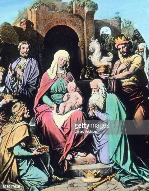 The Three Kings Caspar Melchior and Balthasar in the worship of the Child Jesus
