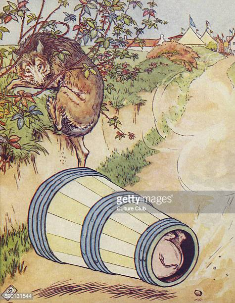 The Three Little Pigs the third pig frightening the wolf by rolling down the hill in a butter churn from the fair from The Golden Goose Book...