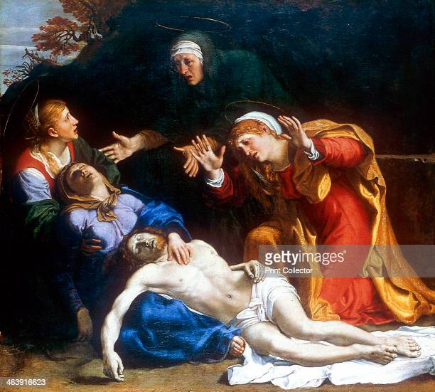 'The Three Maries' c1604 The Virgin Mary lamenting holds the body of the dead Christ in her lap The other mourners are Mary Magdalene in red Mary...