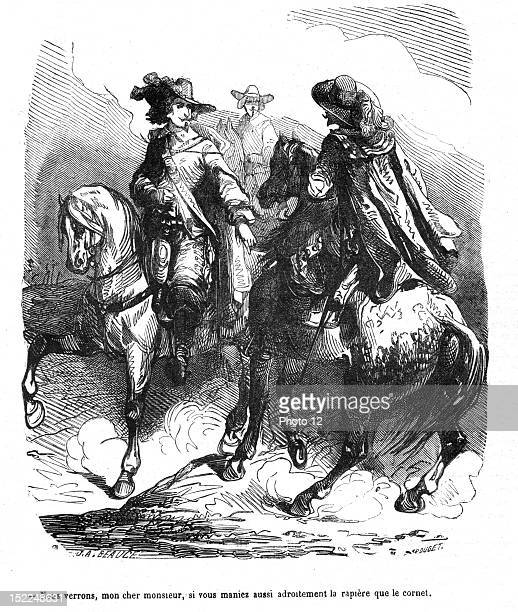 The Three Musketeers D'Artagnan challenging an Englishman to a duel Engraving 19th century Alexandre Dumas Private collection