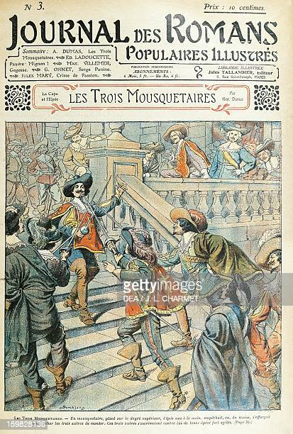 The Three Musketeers illustration for the novel by Alexandre Dumas published in 1925 in the Journal de Romans Populaires Illustres France 20th...