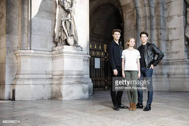 The three new lead dancers of Paris' Opera from left to right Hugo Marchand Leonore Baulac and Germain Louvet posing in front of the Garnier Palace...