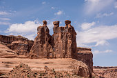 The Three Sisters rock formation in Arches National Park, Utah