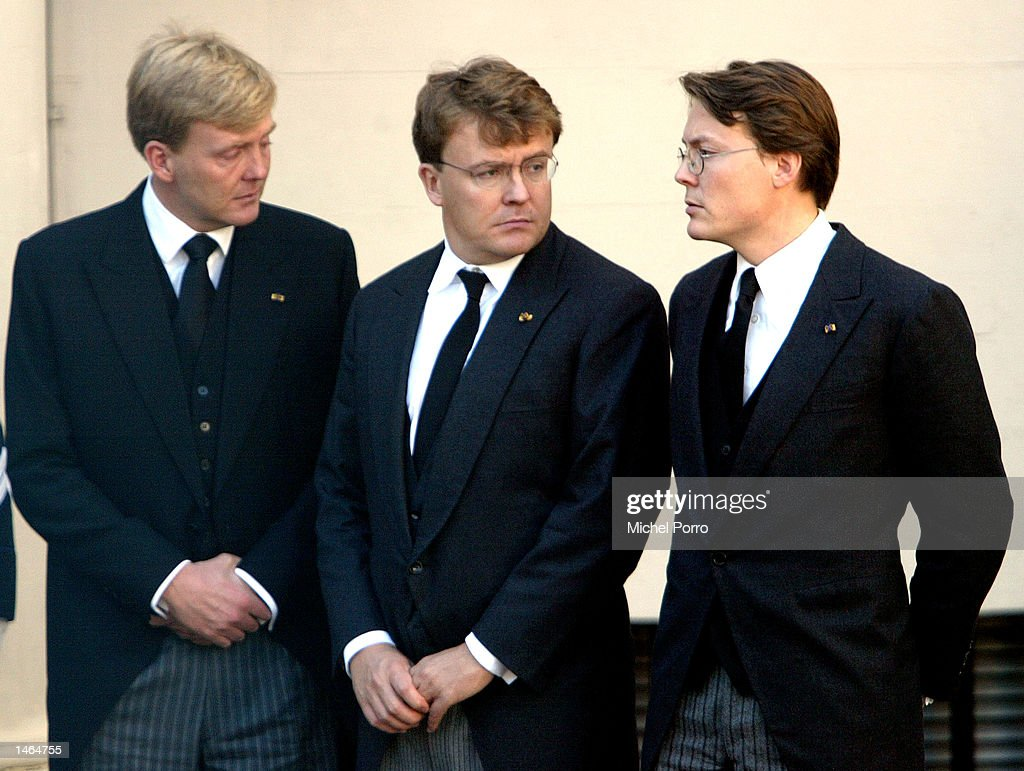 The three sons of Prince Claus of The Netherlands, (R to L) Prince Constantijn, Prince Johan Friso and Crown Prince Willem Alexander watch the coffin containing their father on arrival at Noordeinde Palace where he will lie in state October 8, 2002 in The Hague, The Netherlands. The 76-year-old prince, husband to Queen Beatrix, died October 6, 2002 after a long battle with Parkinson's disease and pneumonia. The funeral will be held in Delft October 15, 2002.
