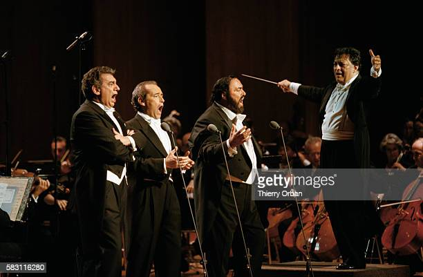 The Three Tenors Placido Domingo Jose Carreras and Luciano Pavarotti perform in Monte Carlo under the direction of orchestra leader Zubin Mehta