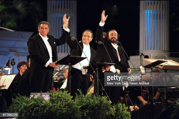 The Three Tenors Placido Domingo Jose Carreras and Luciano Pavarotti perform at Giants Stadium