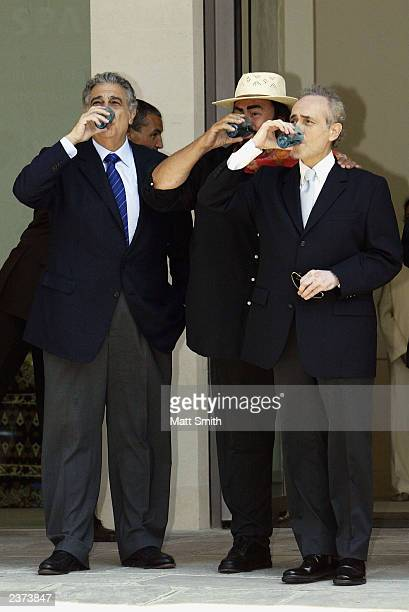 The Three Tenors Placido Domingo Luciano Pavarotti and Jose Carreras attend the opening of the Thermae Bath Spa August 6 2003 in Bath England The...