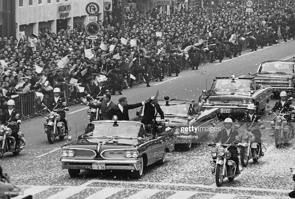 The three US astronauts from the Apollo 11 mission take part in a tickertape parade in the Ginza, Tokyo, during a two-day visit to Japan on their Goodwill Tour of the world, 4th-5th November 1969.