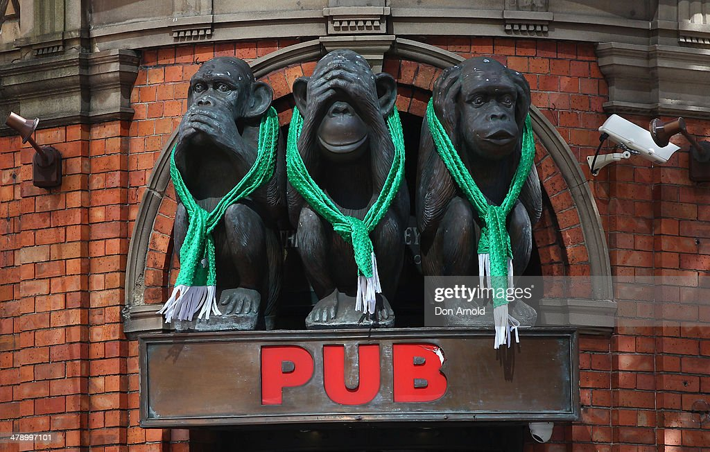 The Three Wise Monkeys Hotel is seen adorned with Irish regalia on March 16, 2014 in Sydney, Australia. St Patrick's Day is an annual religious and cultural commemoration of the widely recognised patron saint of Ireland, Saint Patrick. March 17th, is a public holiday in Northern Ireland and the Republic of Ireland but is celebrated in many countries around the world where Irish diaspora have settled.