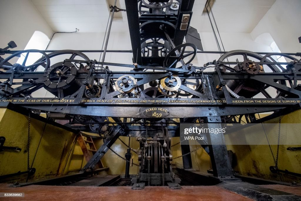 The three-train clock, which drives the hands, the hourly chimes, and the quarter-hourly chimes of Big Ben is seen in the mechanism room, which will be dismantled and cleaned during the renovation work on the Elizabeth Tower at the Palace of Westminster on August 17, 2017 in London, England.