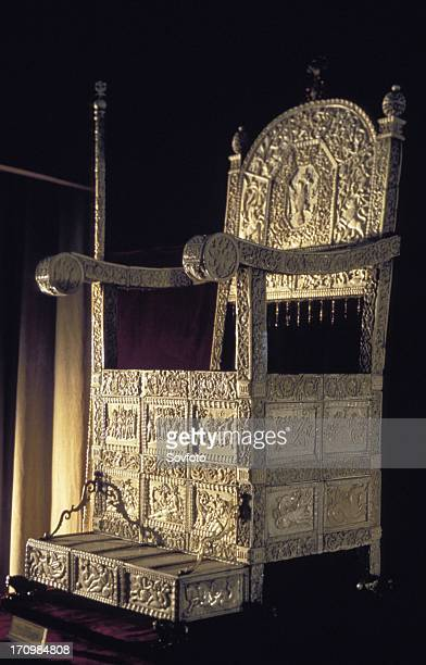 The throne of ivan iv made of carved ivory at the kremlin armory in moscow russia