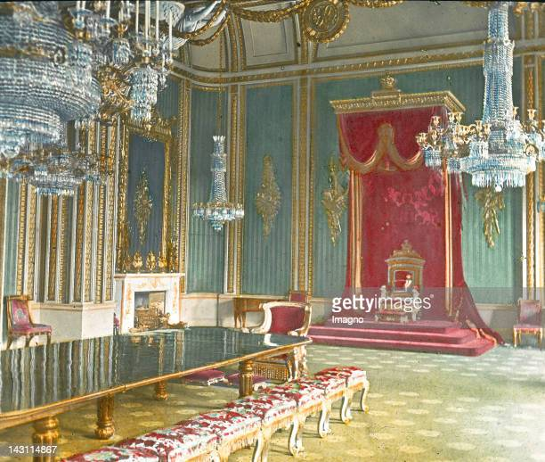 The throne room in Buckingham Palace London England United Kingdom Handcolored lantern slide around 1900