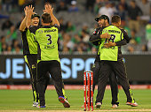The Thunder celebrate winning the Big Bash League match between Melbourne Stars and Sydney Thunder at Melbourne Cricket Ground on December 20 2015 in...