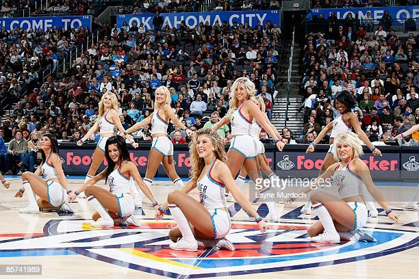 The Thunder Girls perform during the game between the Denver Nuggets and the Oklahoma City Thunder on January 2 2009 at the Ford Center in Oklahoma...