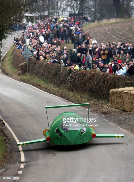 The Thunderbird 2 team race downhill at the Hoar Cross Downhill soapbox competition The competition organised by the 'Mad Club' in aid of charity is...