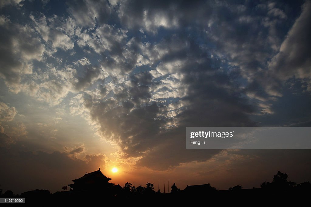 The Tiananmen Gate is seen under the sunset on June 4, 2012 in Beijing, China.