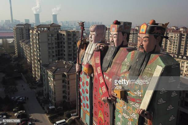 The Tianzi Hotel with the shape of Chinese deities Fu Lu and Shou is pictured on November 20 2017 in Langfang Hebei Province of China The...