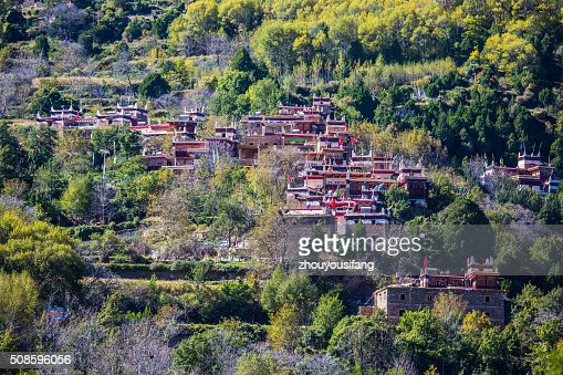 The Tibetan folk houses in Sichuan : Stock Photo
