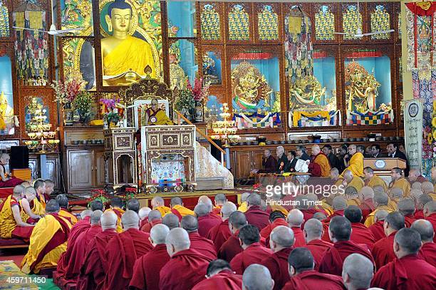 The Tibetan spiritual leader The Dalai Lama addressing Buddhist monks and other followers during the celebration of 600th anniversary of the writing...