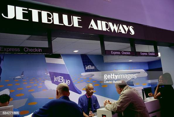 The ticket counter of the discount airlines JetBlue sees brisk business at Long Beach International Airport