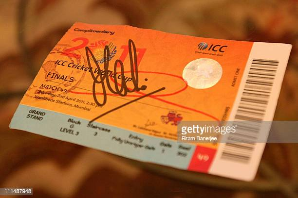 The ticket of the Indian Cricket team captain's wife Sakshi Singh Rawat signed by her husband Mahendra Singh Dhoni for the ICC Cricket World Cup...