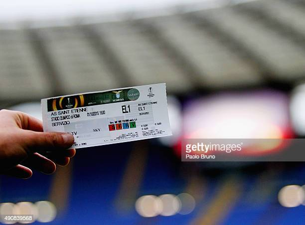 The ticket of the UEFA Europa League group G match between SS Lazio and AS SaintEtienne at Olimpico Stadium on October 1 2015 in Rome Italy
