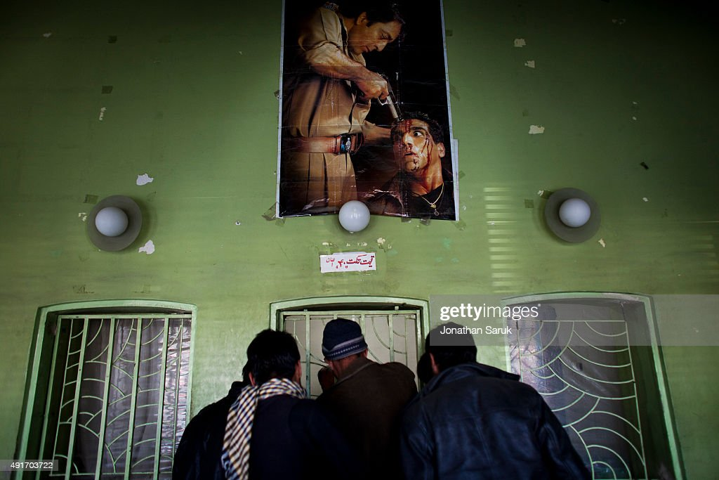 The ticket office at the entrance to Ariana Cinema December 1, 2010 in Kabul, Afghanistan. Going to the movies, once banned under the Taliban, has become a popular form of entertainment in Kabul, but women and children rarely take part.