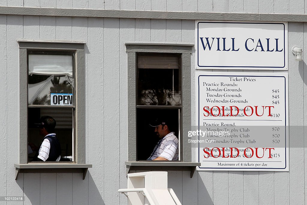 The ticket office is seen during a practice round prior to the start of the 110th U.S. Open at Pebble Beach Golf Links on June 15, 2010 in Pebble Beach, California.