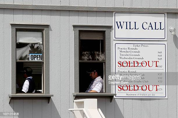 The ticket office is seen during a practice round prior to the start of the 110th US Open at Pebble Beach Golf Links on June 15 2010 in Pebble Beach...