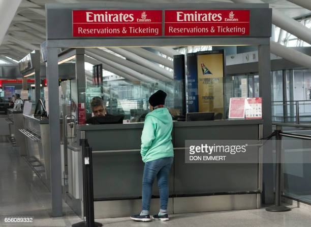 The ticketing and checkin counters for Emirates airlines appears quiet inside the terminal on March 21 2017 at John F Kennedy International Airport...