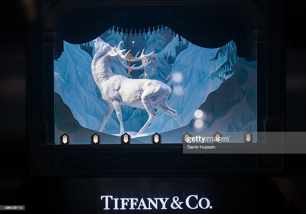 The Tiffany Co Christmas Window dispaly at Tiffany Co on November 9 2015 in London England